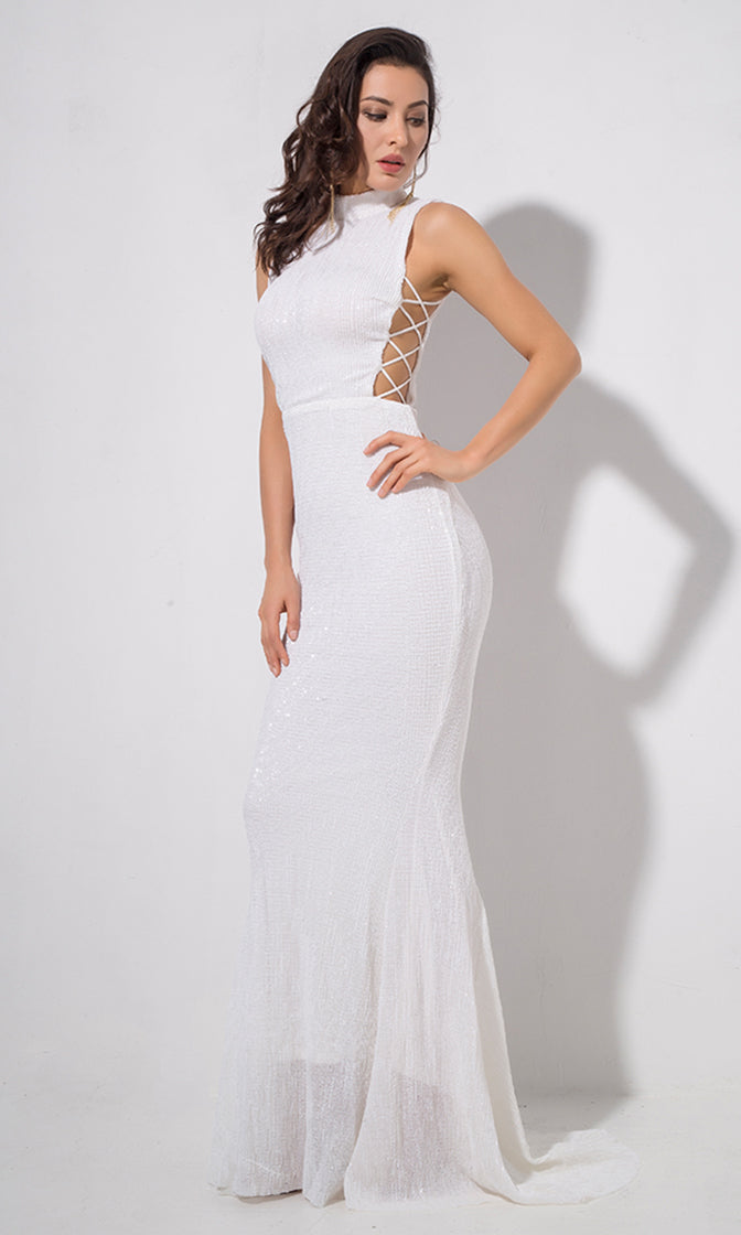 All About Glamour White Sequin Sleeveless Mock Neck Cut Out Sides Fishtail Mermaid Maxi Dress