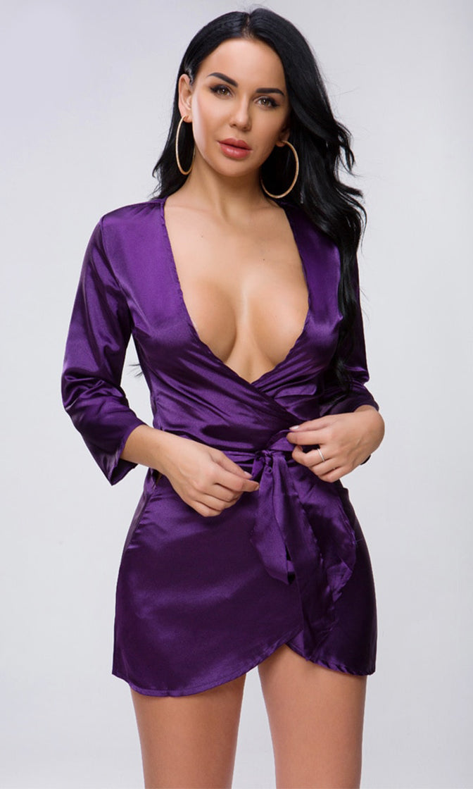 Red Light District Purple Satin 3/4 Sleeve Cross Wrap V Neck Tie Belt Mini Dress