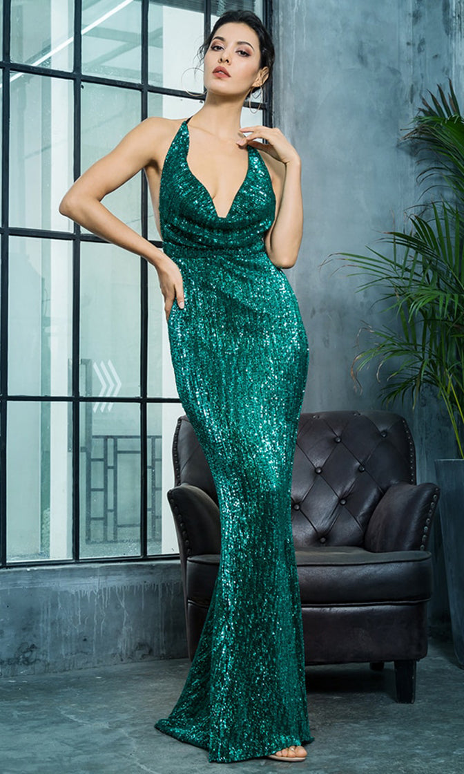 Know My Name Green Sequin Sleeveless Spaghetti Strap Backless Halter Draped Cowl Neck Mermaid Maxi Dress