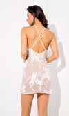 New Ideas White Sequin Floral Pattern Sleeveless Spaghetti Strap Plunge V Neck Bodycon Mini Dress