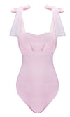 Social Media Star Sleeveless Sheer Mesh Bow Straps Sweetheart Neck Bandage Bodysuit Top - Sold Out