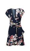 All About You Floral Pattern Short Sleeve Ruffle Cross Wrap V Neck Casual Mini Dress - 2 Colors Available - Sold Out