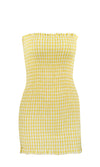 Checking In Gingham Plaid Pattern Strapless Smocked Ruffle Bodycon Casual Mini Dress - 2 Colors Available