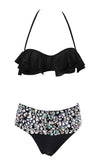 Time To Splash Black Crystal Rhinestone Halter Ruffle Top High Waist Two Piece Bikini Swimsuit