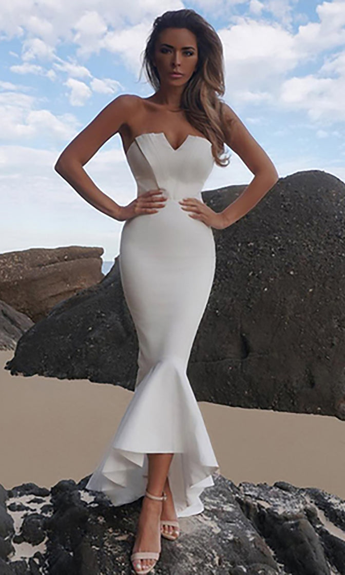 Ready To Wow White Strapless V Neck Mermaid Bodycon Bandage Maxi Dress
