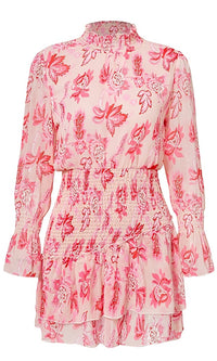 Don't Wait For Me Pink Floral Pattern Ruffle Mock Neck Long Sleeve Smocked Flare A Line Casual Mini Dress - Sold Out
