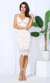 Lacy Dreams White Cut Out Lace Sleeveless Spaghetti Strap V Neck Casual Midi Dress - Sold Out