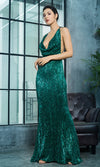 Know My Name Green Sequin Sleeveless Spaghetti Strap Backless Halter Draped Cowl Neck Mermaid Maxi Dress - Sold Out