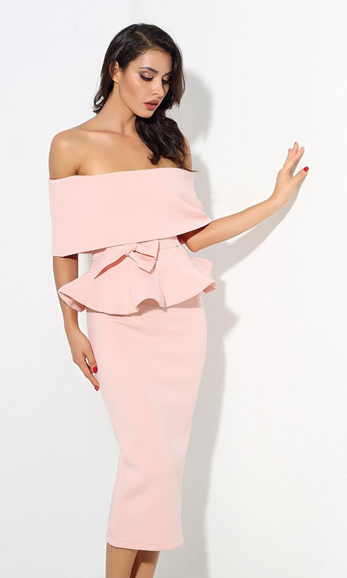 Status Quo Pink Off The Shoulder Bow Belt Ruffle Peplum Top Midi Skirt Two Piece Dress