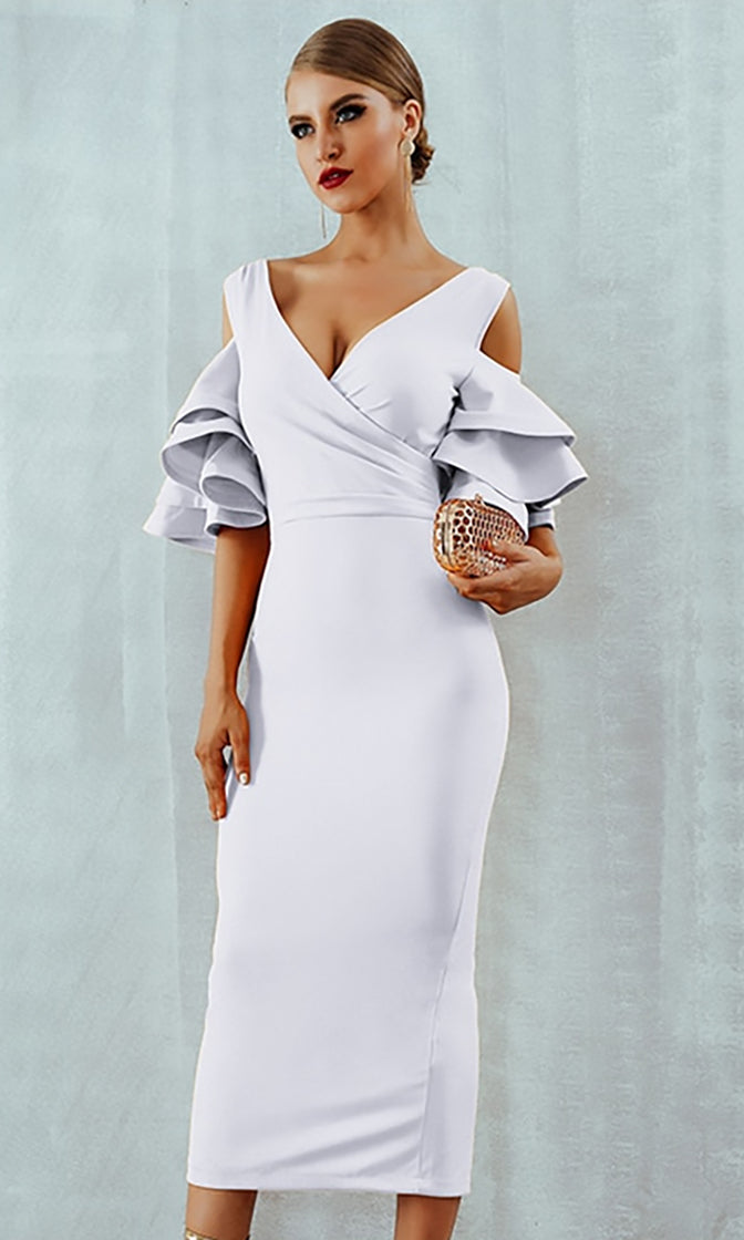 Raised Me Right White Elbow Sleeve Ruffle Cross Wrap V Neck Cold Shoulder Bodycon Midi Dress - 7 Colors Available