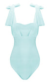 Social Media Star Sleeveless Sheer Mesh Bow Straps Sweetheart Neck Bandage Bodysuit Top - 4 Colors Available