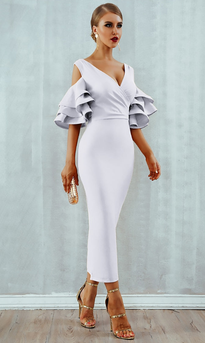 Raised Me Right White Elbow Sleeve Ruffle Cross Wrap V Neck Cold Shoulder Bodycon Midi Dress
