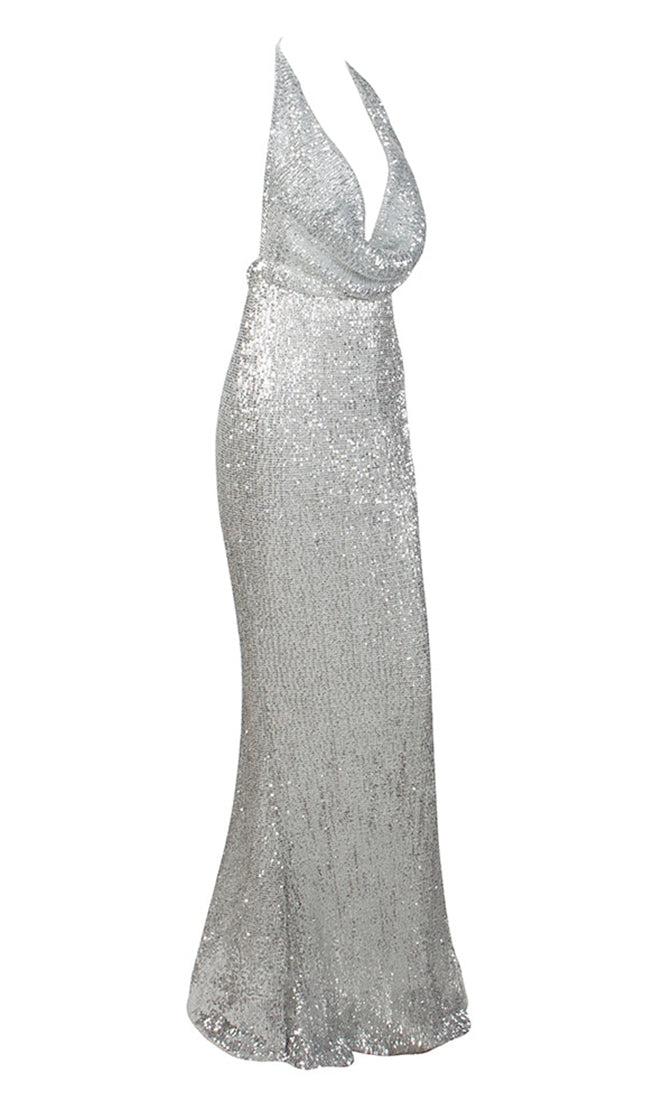 Know My Name Silver Sequin Sleeveless Spaghetti Strap Backless Halter Draped Cowl Neck Mermaid Maxi Dress