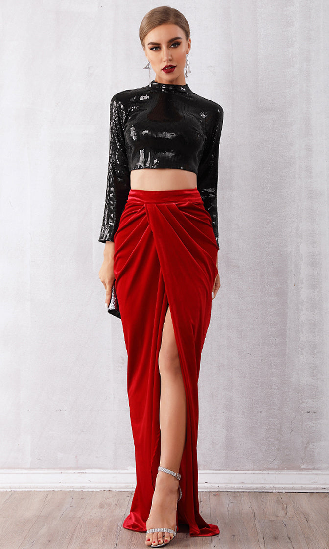 Fire And Rain Black Red Sequin Long Sleeve Mock Neck Crop Top Velvet Wrap Side Split Maxi Skirt Bandage Two Piece Dress
