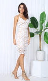 Lacy Dreams White Cut Out Lace Sleeveless Spaghetti Strap V Neck Casual Midi Dress