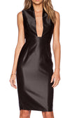Take A Stand Black Sleeveless Shiny Plunge V Neck Bodycon Midi Dress - Sold Out
