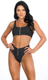 Hawaiian Spirit Black Sleeveless One Shoulder Crochet Elastic Two Piece Bikini Swimsuit