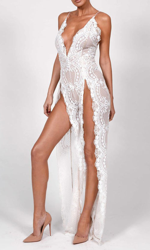 La Dolce Vita Lace Sleeveless Spaghetti Strap Plunge V Neck Double Slit Jumpsuit - 2 Colors Available