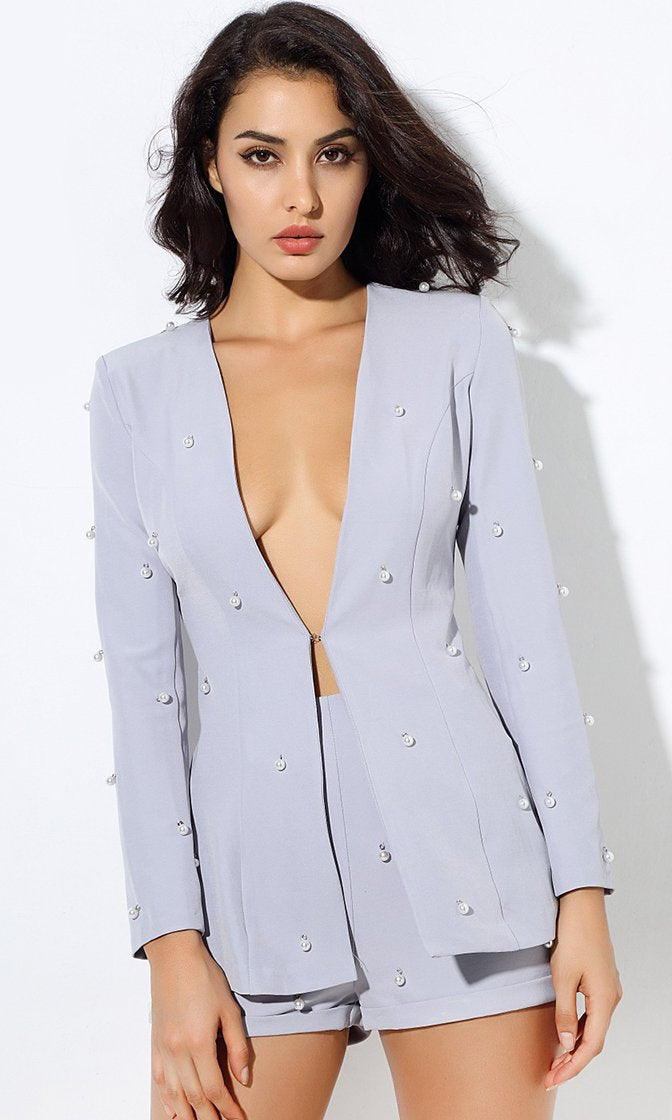 Pearly Perfection Gray Long Sleeve Faux Pearl Blazer Romper Short Two Piece Set - 4 Colors Available
