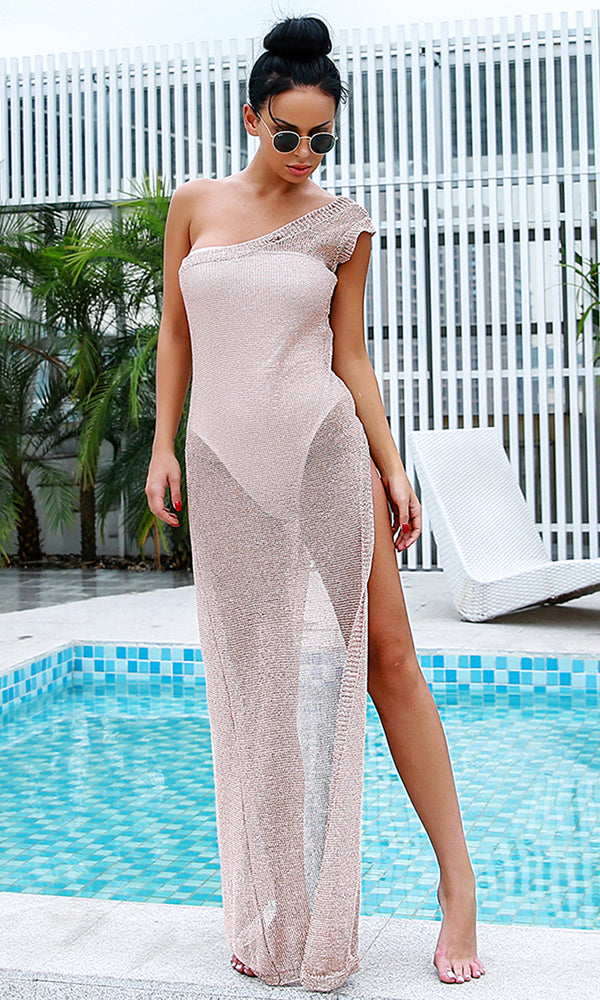 Sheer Drama Gold Sleeveless One Shoulder High Slit Casual Maxi Dress