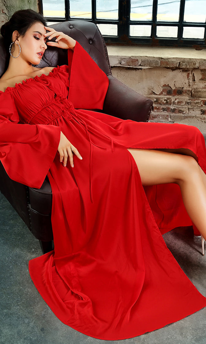 Remember This Moment Red Long Bell Sleeve Off The Shoulder Front Slit Casual Maxi Dress