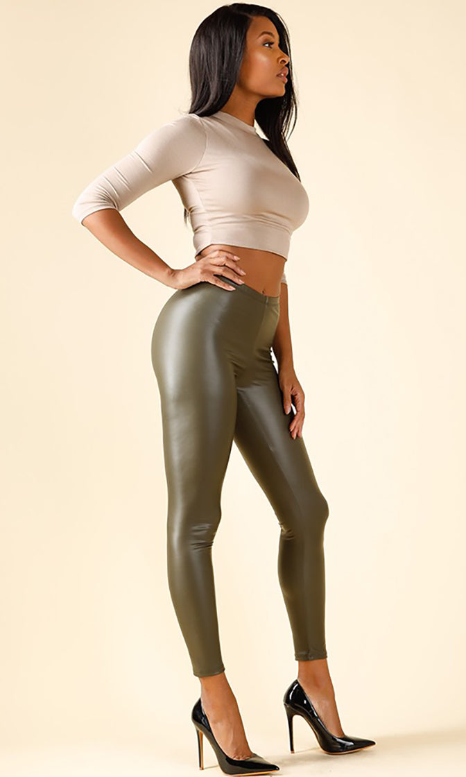 Ring The Bell Olive Green PU Faux Leather Skinny Leggings Pants - Sold Out