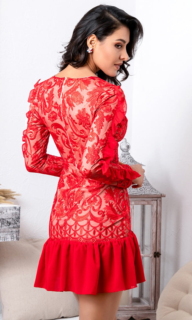 I've Got A Feeling Red Lace Long Sleeve Ruffle V Neck Bodycon Mini Dress