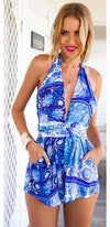 Take The High Road Blue White Floral Sleeveless Plunge V Neck Backless Halter Tie Waist Short Romper - Sold Out