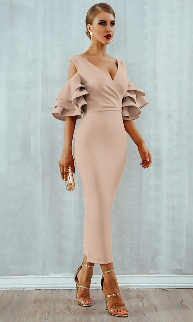 Raised Me Right Apricot Elbow Sleeve Ruffle Cross Wrap V Neck Cold Shoulder Bodycon Midi Dress - 7 Colors Available