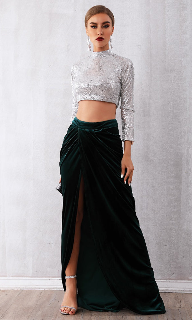 Once In A Lifetime Silver Green Long Sleeve Sequin Crop Top Velvet Wrap Slit Maxi Skirt Two Piece Dress