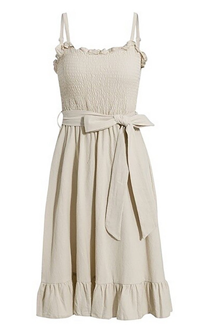Romance Rules Sleeveless Smocked Ruffle Sweetheart Neck Tie Belt Flare A Line Casual Midi Dress - 5 Colors Available