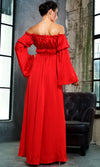 Remember This Moment Red Long Bell Sleeve Off The Shoulder Front Slit Casual Maxi Dress - Sold Out