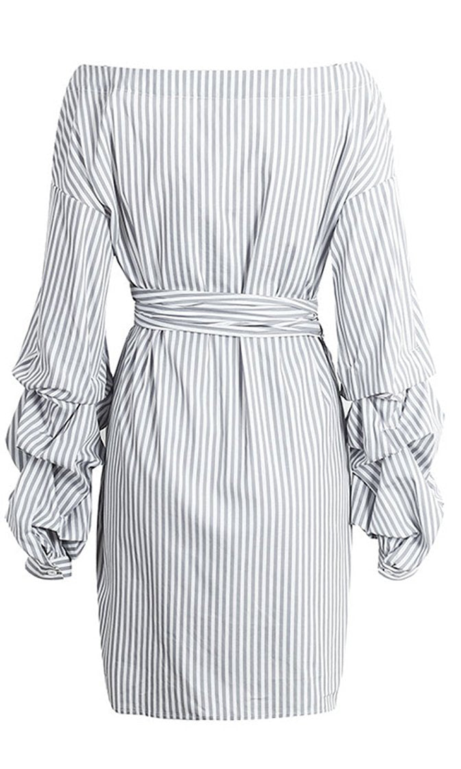 Candy Striper Pattern Long Gathered Sleeve Off The Shoulder Cross Wrap V Neck Casual Bow Belt Mini Dress - 3 Colors Available