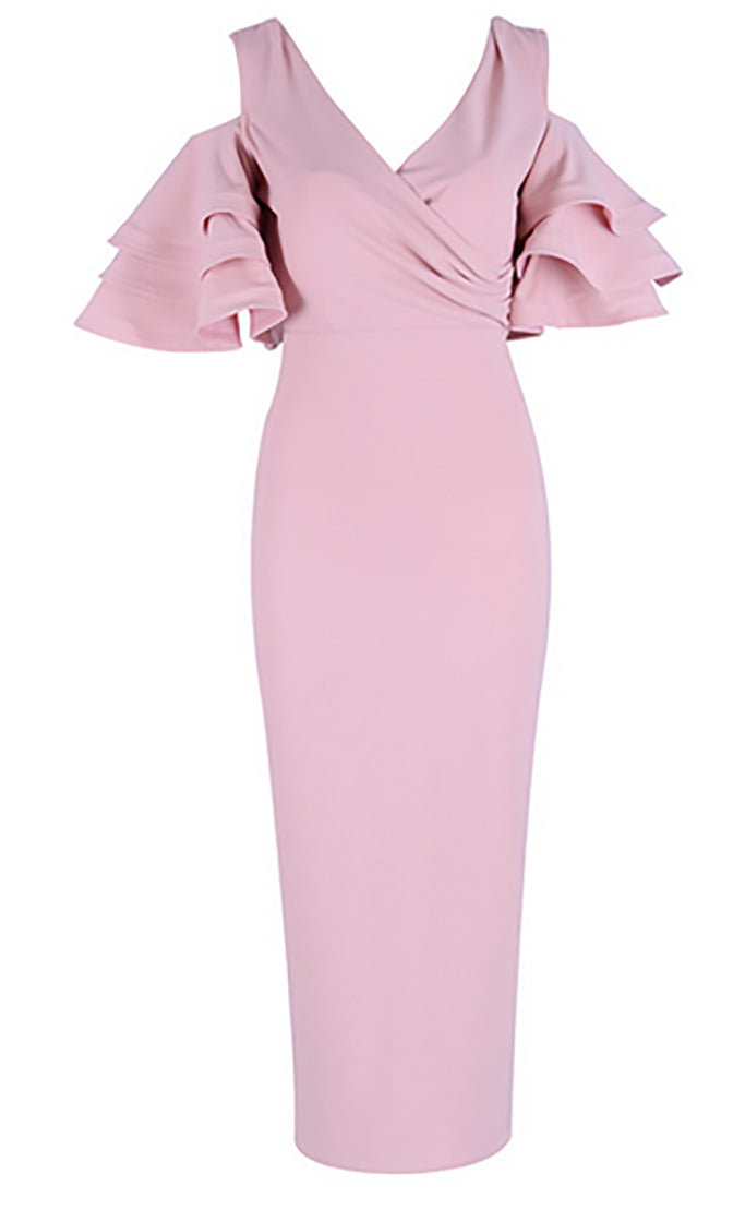 Raised Me Right Pink Elbow Sleeve Ruffle Cross Wrap V Neck Cold Shoulder Bodycon Midi Dress