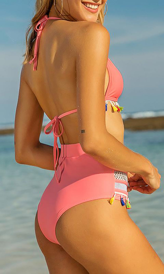 Enjoy The Moment Spaghetti Strap Triangle Fishnet Trim Tassel High Waist Two Piece Bikini Swimsuit - 4 Colors Available