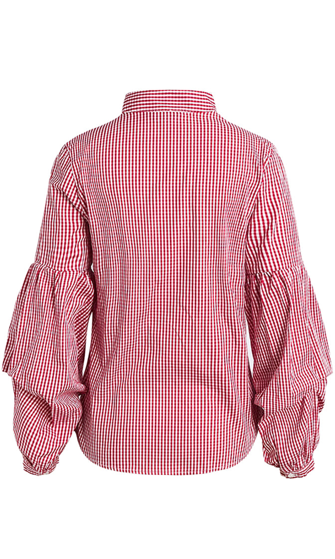 Southern Charm Stripe Pattern Long Puff Sleeve V Neck Button Front Blouse Top - 3 Colors Available