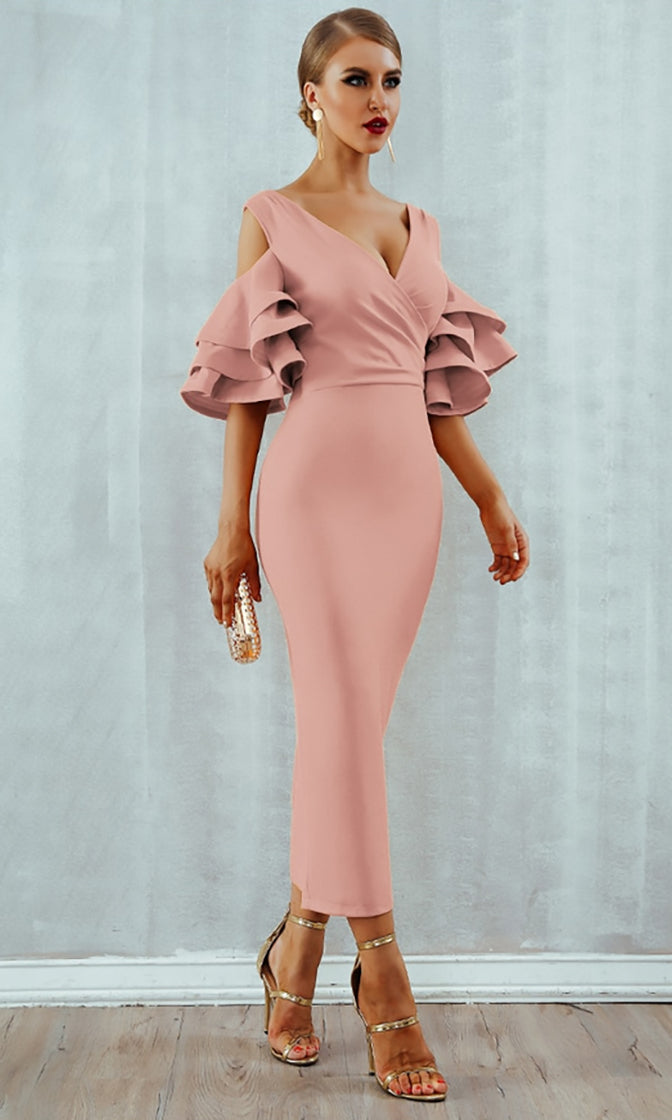 Raised Me Right Pink Elbow Sleeve Ruffle Cross Wrap V Neck Cold Shoulder Bodycon Midi Dress - 7 Colors Available