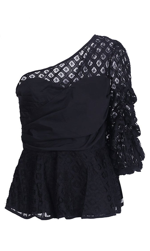 Catching Up Black Mesh One Shoulder Ruffle 3/4 Sleeve Peplum Blouse Top
