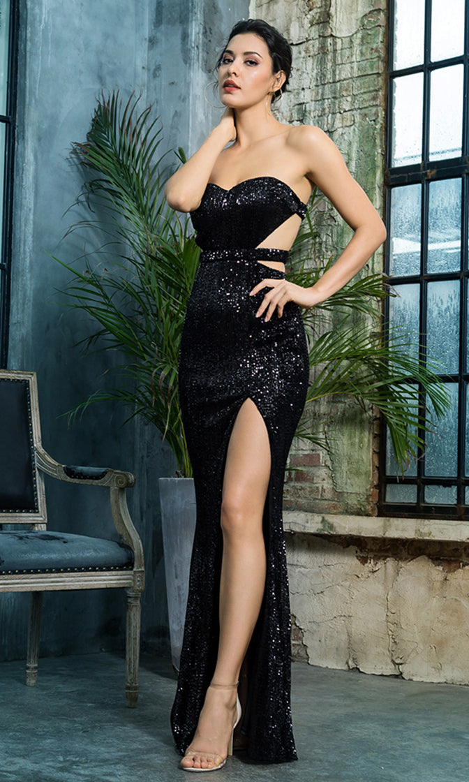38072c4fa95 Lose Control Black Sequin Strapless Sweetheart Neck Cut Out Sides Backless High  Slit Maxi Dress