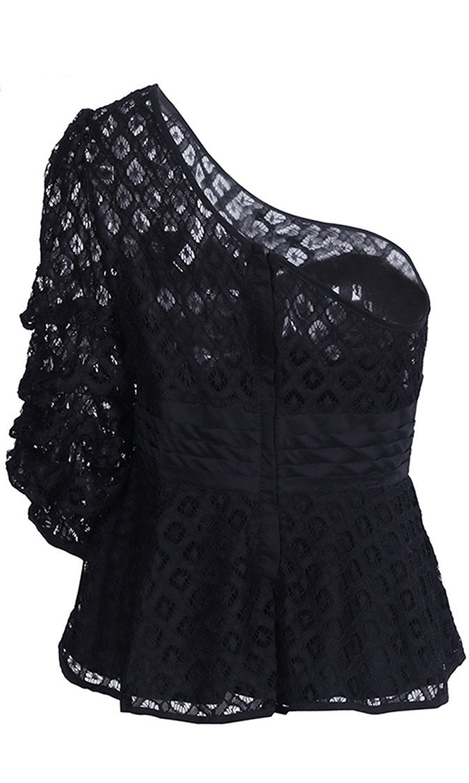 Catching Up Black Mesh One Shoulder Ruffle 3/4 Sleeve Peplum Blouse Top - Sold Out