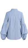 Southern Charm Stripe Pattern Long Puff Sleeve V Neck Button Front Blouse Top - 3 Colors Available - Sold Out