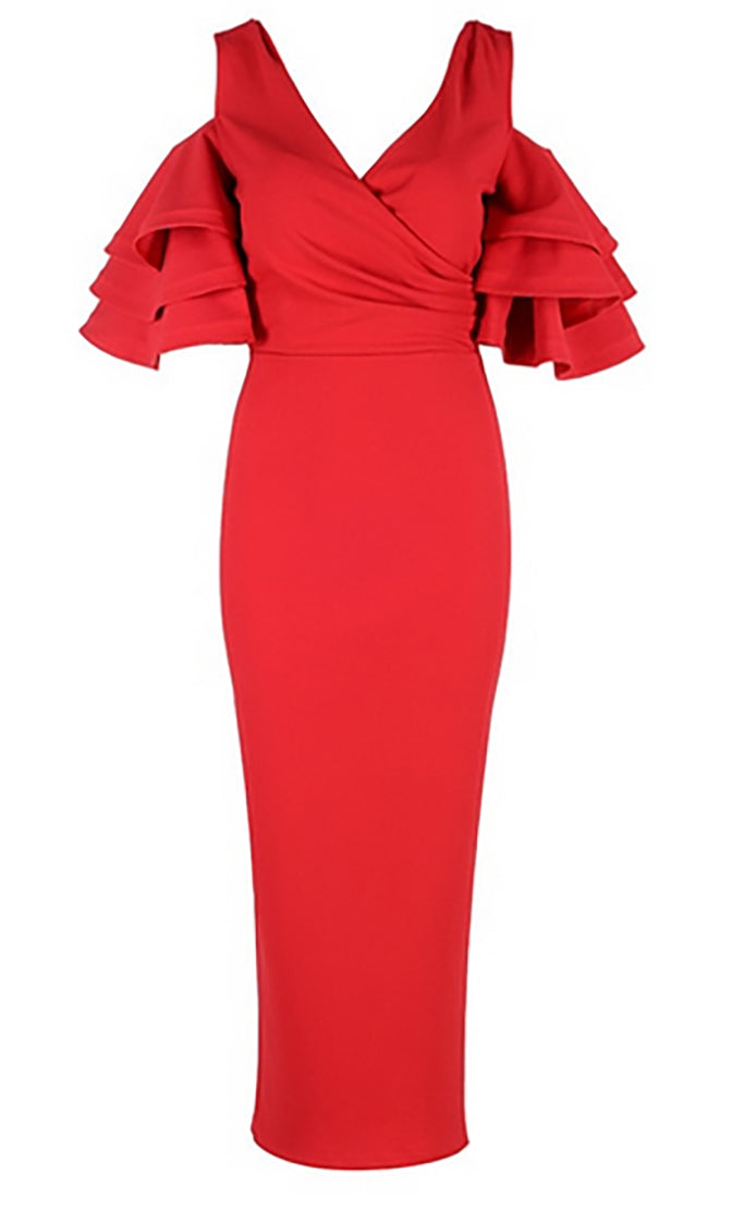 Raised Me Right Red Elbow Sleeve Ruffle Cross Wrap V Neck Cold Shoulder Bodycon Midi Dress