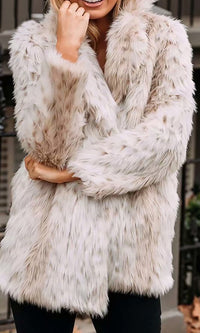 Elevated Game Faux Fur Leopard Pattern Long Sleeve Lapel Coat Outerwear - Sold Out