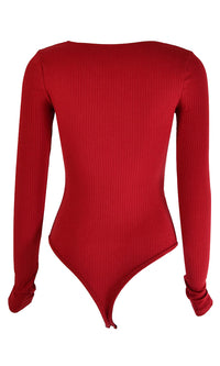 Ring Me Up Long Sleeve Ribbed V Neck Underwire Thong Bodysuit Top - 5 Colors Available - Sold Out