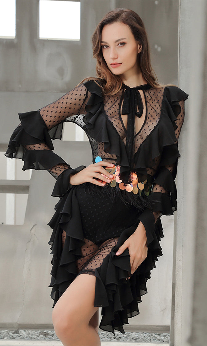 Make It Legal Black Sheer Mesh Dot Chiffon Ruffle Long Sleeve Tie V Neck Bodycon Mini Dress