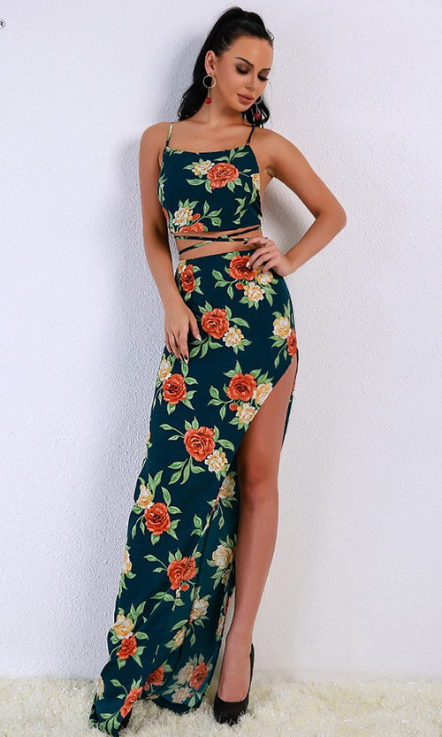 Bouquet Bombshell Flower Spaghetti Strap Sleeveless Backless Crop Top High Slit Two Piece Maxi Casual Dress - 2 Colors Available
