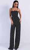 Sweet Embrace Black White Polka Dot Pattern Sleeveless Spaghetti Strap Cut Out Back Wide Leg Jumpsuit