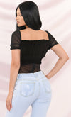 In Concert Mesh Swiss Polka Dot Pattern Sheer Thong Black Short Puff Sleeve Ruched Ruffle V Neck Bodysuit Top