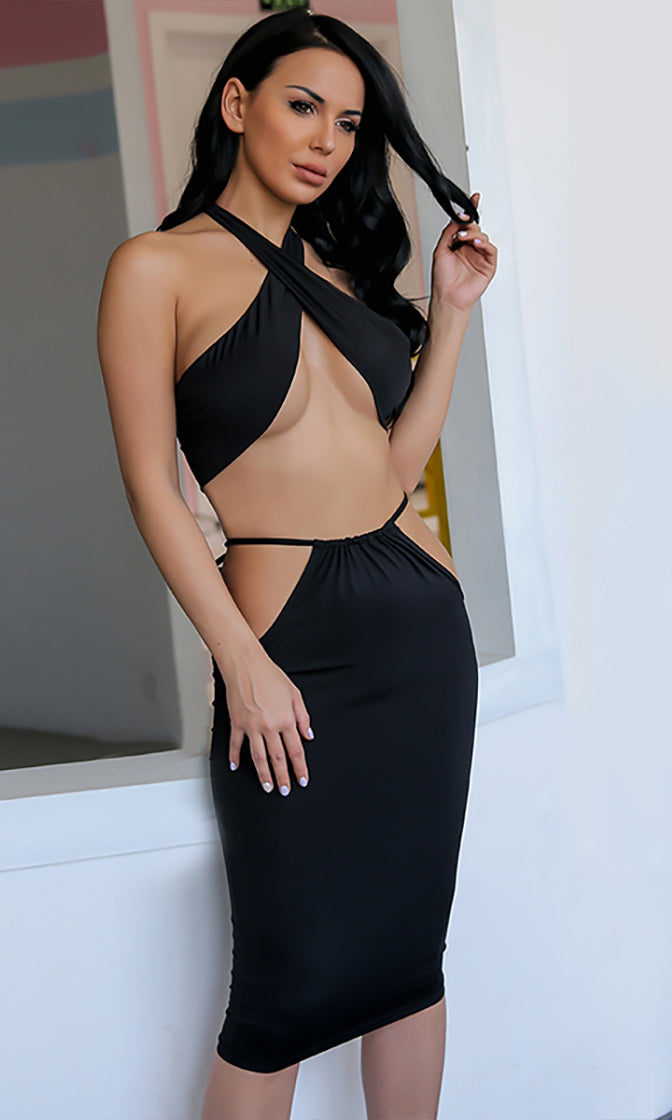 Make Your Move Black Sleeveless Backless Adjustable Convertible Halter Top Cut Out Bodycon Two Piece Midi Dress