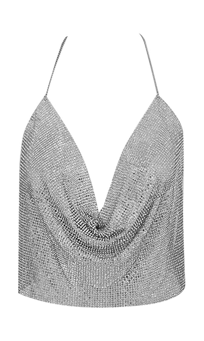 Wishful Thinking Metal Mesh Sleeveless Spaghetti Strap Halter Drape Neck Backless Crop Tank Top - 2 Colors Available